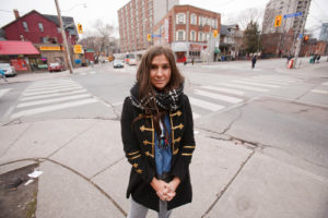 Carly Kalish pictured at intersection of Sherbourne and Dundas